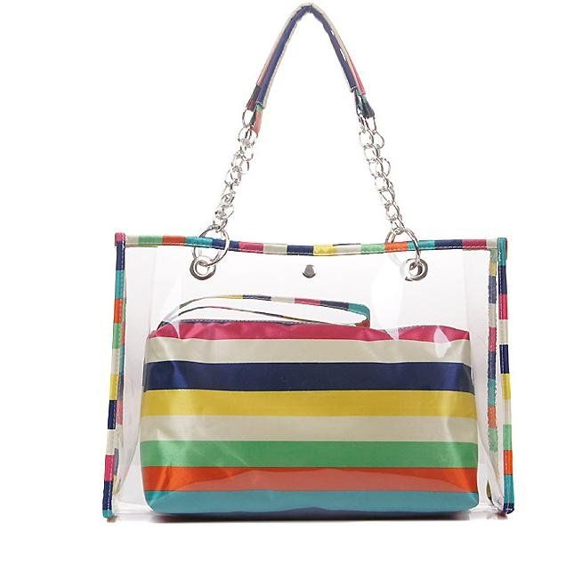 Zicac Womens Clear Colorful Stripe Top Handle Handbags Beach Wallet Swimming Tote Shoulder Bag Multicolor For More Information Visit Image Link