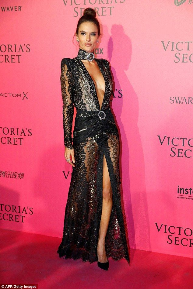 Stunning: Alessandra Ambrosio turned heads backstage at the Grand Palais after the Victoria's Secret Fashion Show at the Grand Palais in Paris on Wednesday night