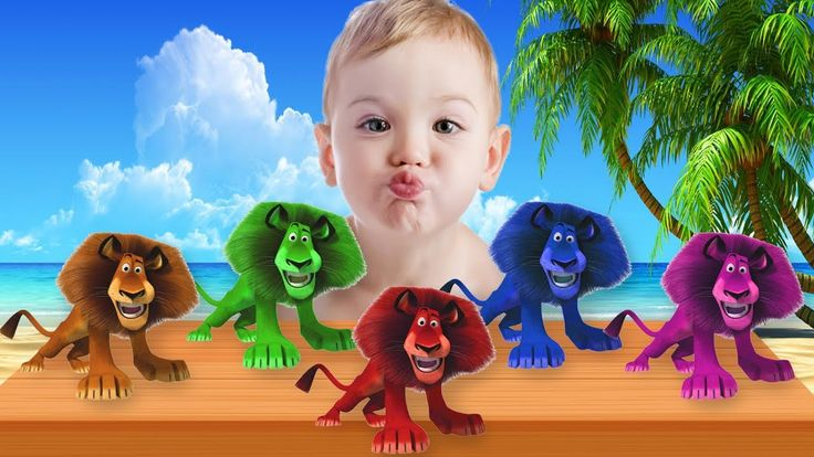 Learn Colors with Lion - Learn Colors with Animals Finger Family Songs f...