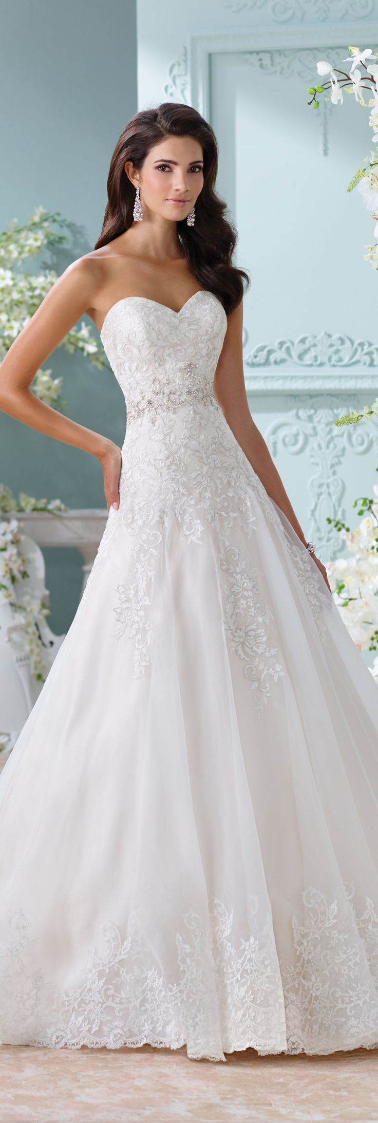 The David Tutera for Mon Cheri Spring 2016 Wedding Gown Collection - Style No. 116210 Laina #laceweddingdresses