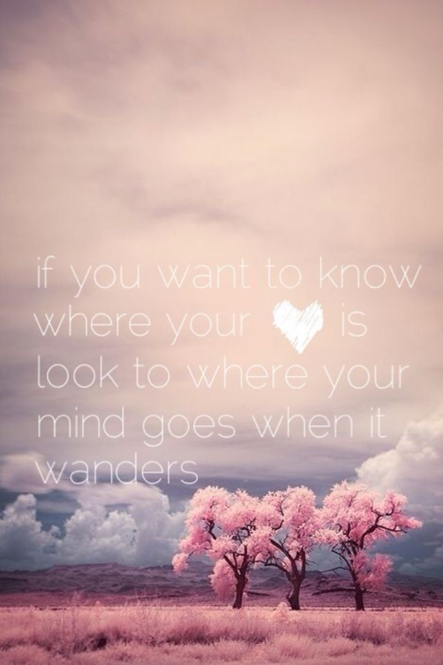 """if you want to know where your heart is, look to where your mind goes when it wanders"""