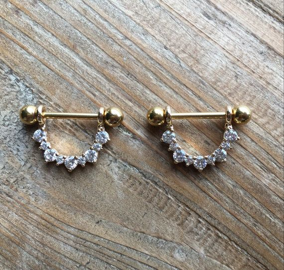 Pair of 14 Gauge/1.6mm-gold Nipple barbells with sparkly by LoveYi