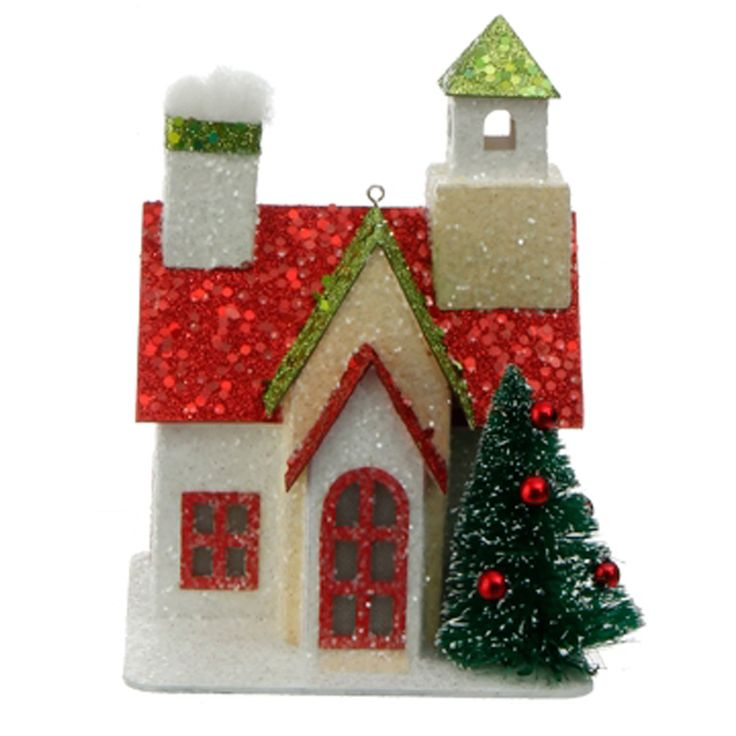 "Raz 5"" Lighted Red Green and White Cardboard House Christmas Ornament 