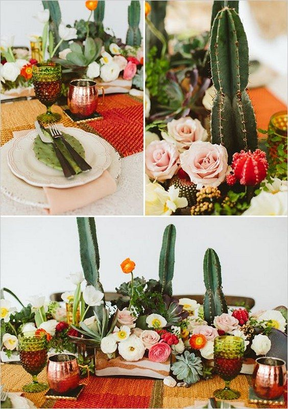 cactus and rose table decor / http://www.deerpearlflowers.com/cactus-wedding-ideas/