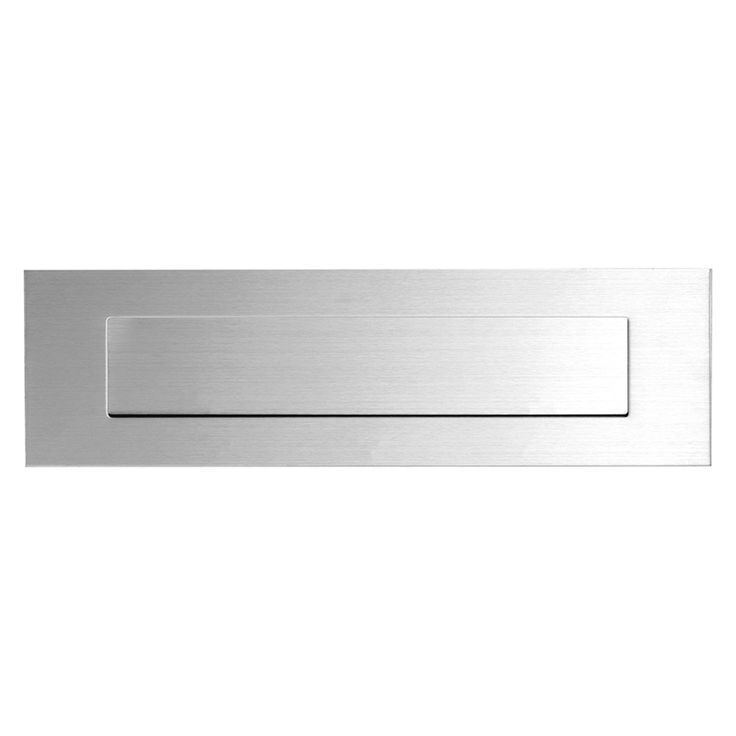 RVS mat briefplaat 350x100x3mm met verende binnenklep. Slechts 3mm dikte. Super vlak resultaat op de voordeur!