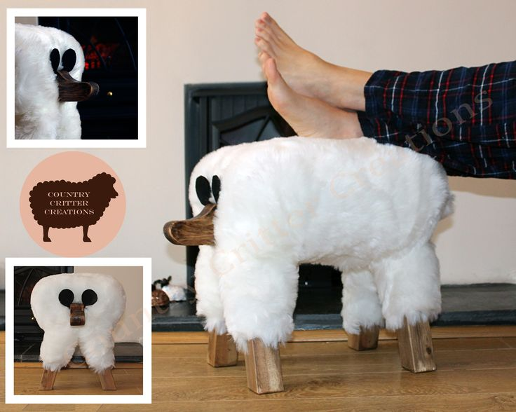 White Sheep novelty footstool by country critter creations