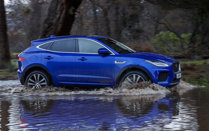 Download wallpapers Jaguar E-Pace, 4k, offroad, 2018 cars, crossovers, blue E-Pace, Jaguar