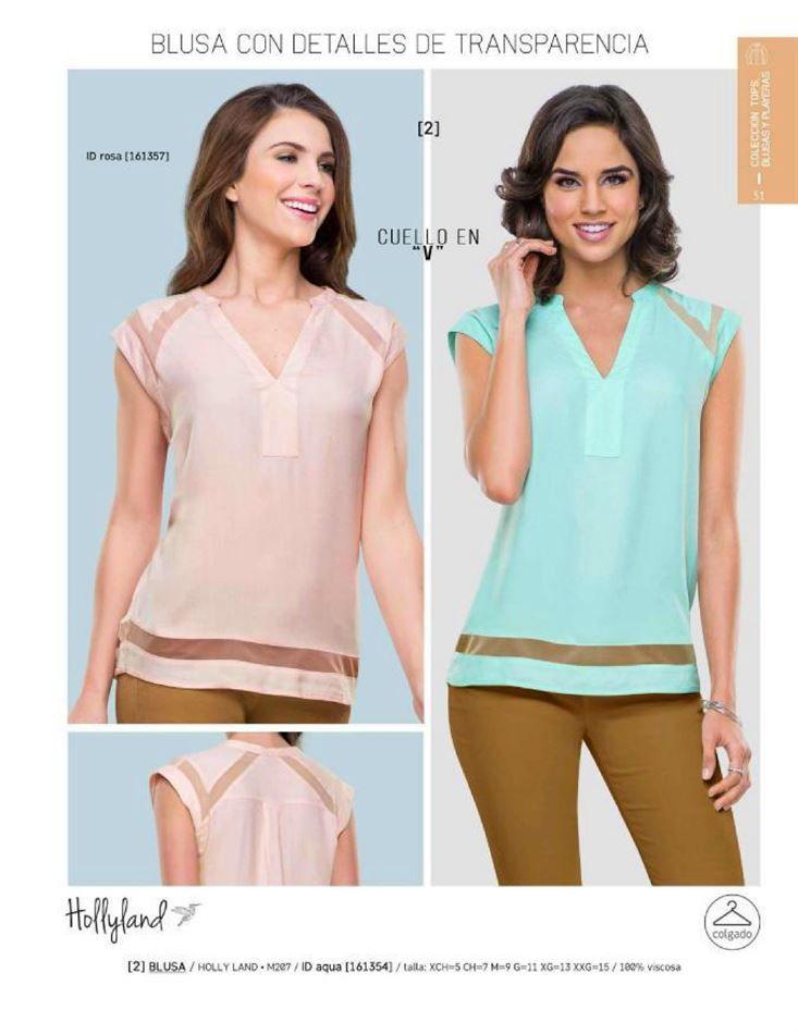 Blusas de moda para mujer con detalles de transparencias de la marca Holly Land, catalogo Price Shoes. Blusas para el verano