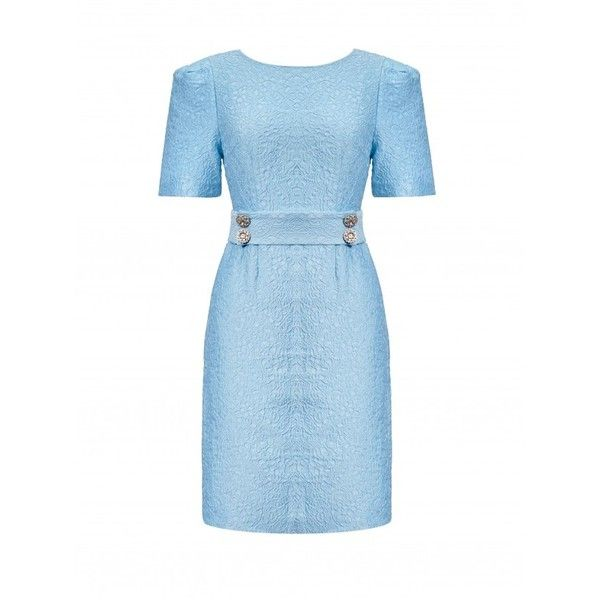 Light Blue Delicate Buttons Bodycon Dress ($29) ❤ liked on Polyvore featuring dresses, blue body con dress, blue dress, body conscious dress, blue bodycon dress and bodycon dress