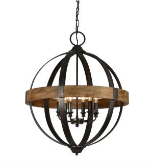 Illuminate your foyer or dining room in a chic style with this elegant iron and wood orb chandelier, featuring 6 lights and a weathered pewter finish.  The Bristol 6 Light Chandelier is on display in our showroom at Sardis Marketplace.  Be sure to use coupon code DS5% to receive a 5% discount on your online order.    Fixture Dimensions: H32*D26 CHAIN: 4' WIRE: 5'