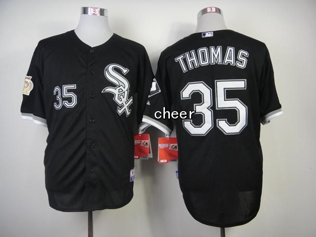 Men's MLB Chicago White Sox #35 Thomas Black Jersey