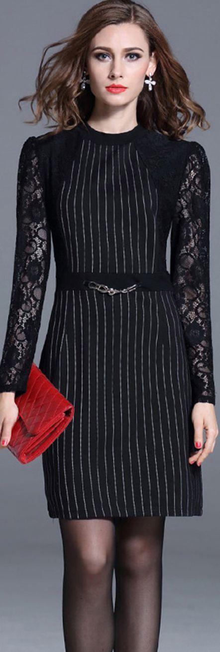Black Vertical Striped Dress