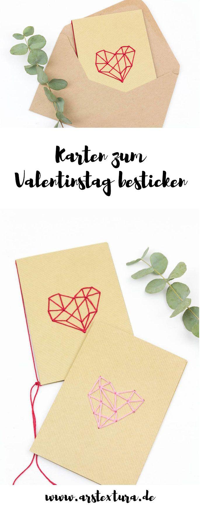 Karten zum Valentinstag basteln - Karten mit geometrischem Herz besticken