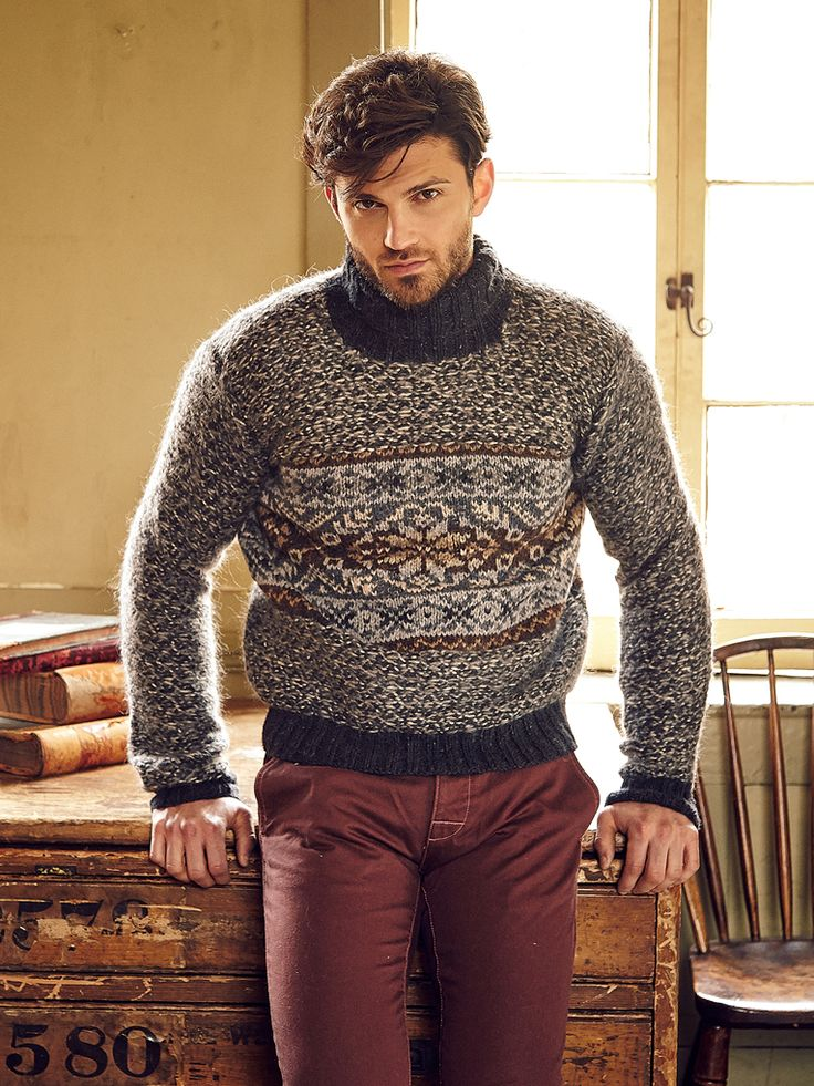 Lindisfarne - Knit this mens roll neck sweater from Rowan ...