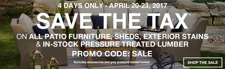 Lowes Canada Deals: Save the Tax on All Patio Furniture Sheds & More  Buy One Get One Sale on Appliances BBQ... http://www.lavahotdeals.com/ca/cheap/lowes-canada-deals-save-tax-patio-furniture-sheds/192325?utm_source=pinterest&utm_medium=rss&utm_campaign=at_lavahotdeals