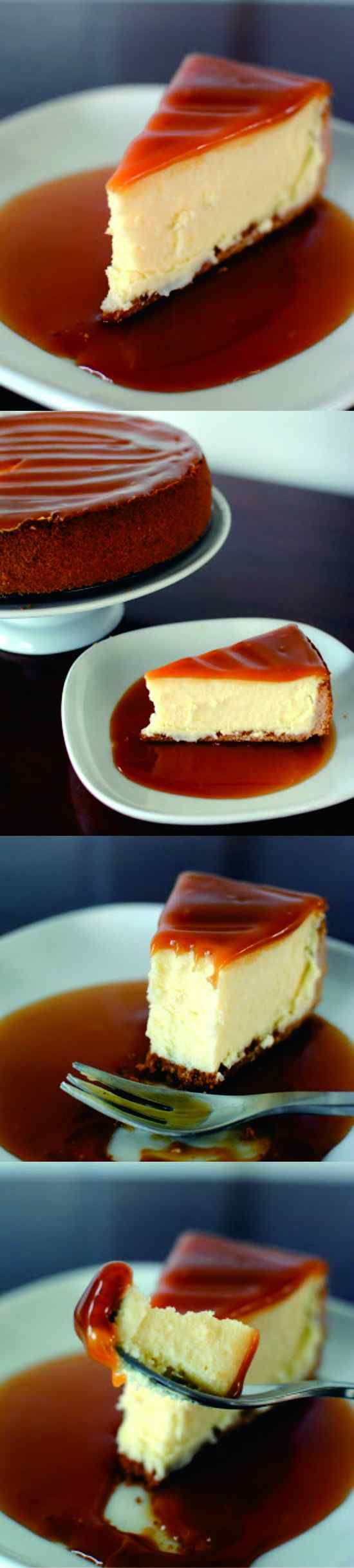 White Chocolate Cheesecake with Caramel Glaze - baked, cake, caramel, cheese, cheesecake, chocolate, crackers, cream, crust, dessert, juice, lemon, recipes, vanilla, white chocolate