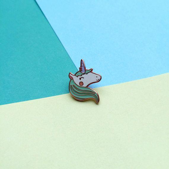 PREORDER: Happy Unicorn Enamel Lapel Pin | cute glitter enamel hat pin badge