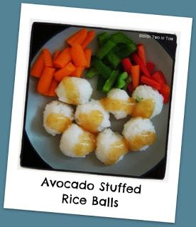 With Two in Tow: Avocado Stuffed Rice Balls - Recipe