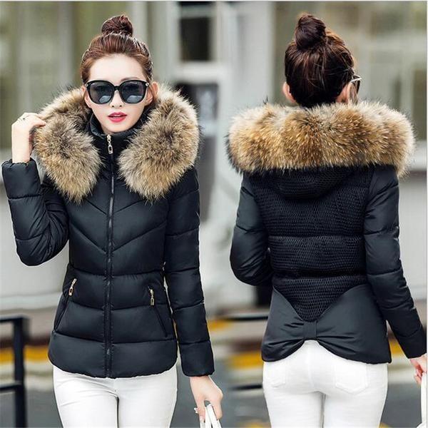 Fake fur collar Parka down cotton jacket 2017 Winter Jacket Women thick Snow Wear Coat Lady Clothing Female Jackets Parkas-Enso Store-Black-M-Enso Store