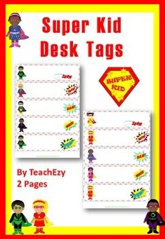 Super Kids Desk/locker Labels