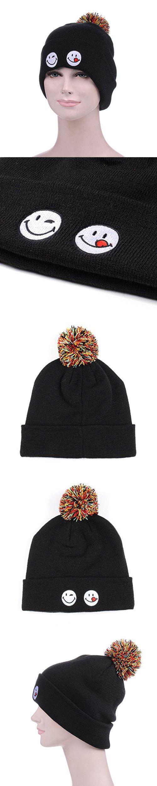 Emoji Smiley Beanie for Women Girls Men Pom Cuff Black Winter Slouchy Knit Hats - Unisex Daily Soft Stretch Warm Trendy Thick Hip Hop - Best for Sports, Outdoors, Hiking, Ski