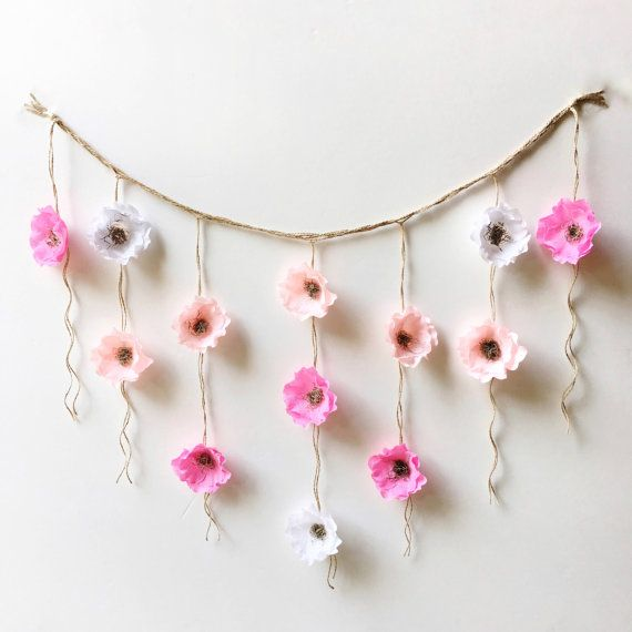 Boho Paper Flower Wall Hanging-Nursery Wall Decor-Dorm Wall Hanging-Flower Wall…