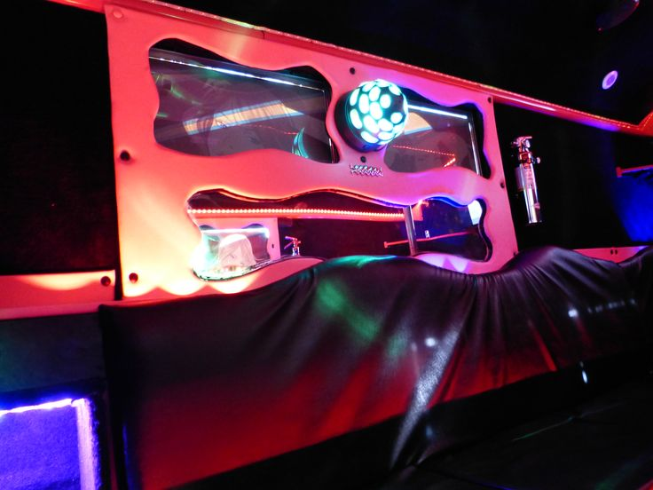LED strips and LED lights used in a party bus. DJ Lights