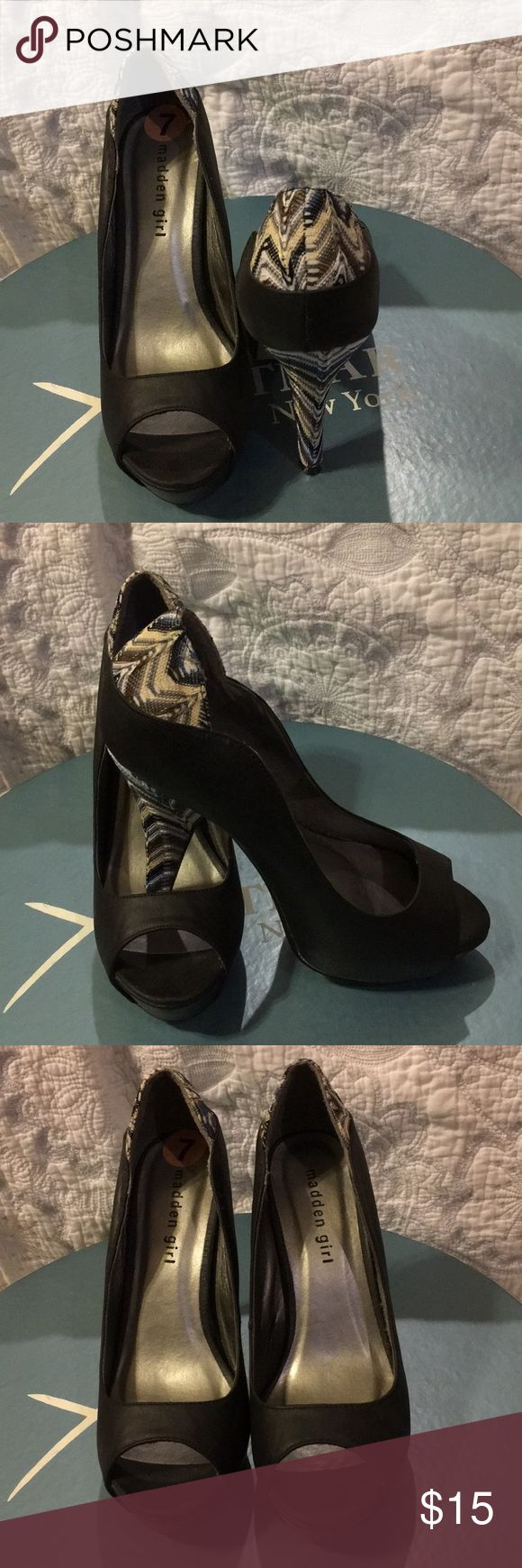Heels Preppy Hooker Heels  Black shoe-Heel: olive, blue yellow, and beige  4 1/2' heel Madden Girl Shoes Heels