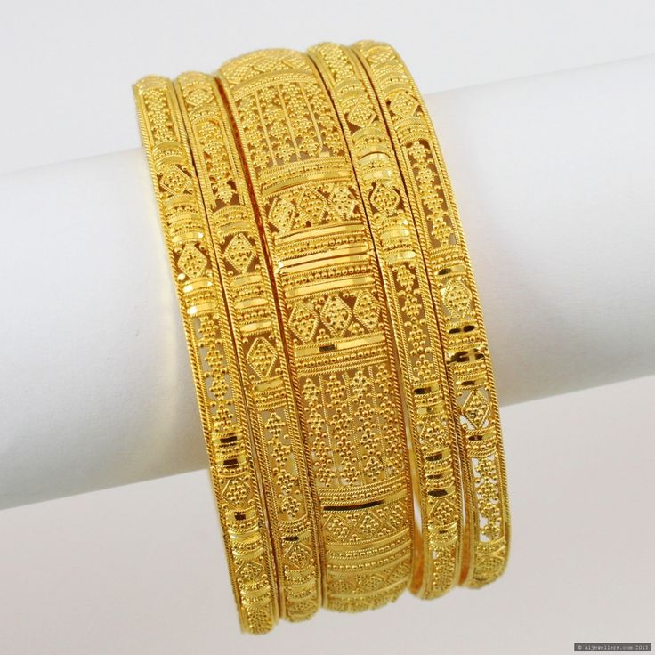 Gold Bangles From India | 22ct Indian Gold Bangles Set - £3613.35 | Bangles | Indian Jewellery ...