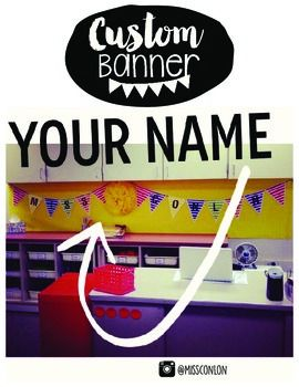 CUSTOMIZABLE TEACHER NAME BANNER!!!!Here is a complete DIY custom/personalized banner. Includes all letters of the alphabet in black and white theme. Spell anything out with this printable and choose what colors you want!I sure do love adding little extra pretty things to my classroom, and this printable is one of those things!!