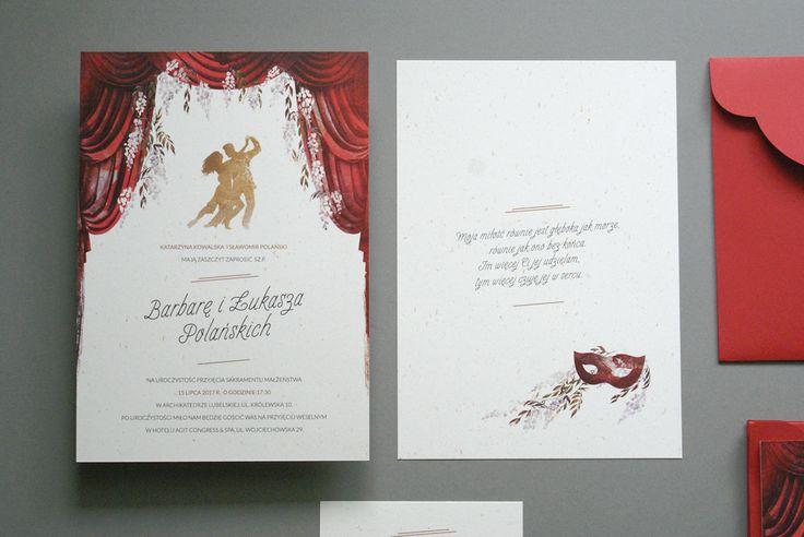 Motyw teatru i tańca na zaproszeniach ślubnych #theatretheme #scene #weddingtheme