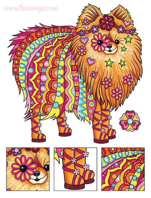 Hippie Pomeranian Coloring Page By Thaneeya