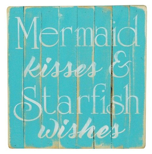 "Such a perfect whimsical sentiment for a beach home, this 12"" x 12""  Mermaid Kisses, Starfish Wishes wall art  sign will be a welcome addition to any room."
