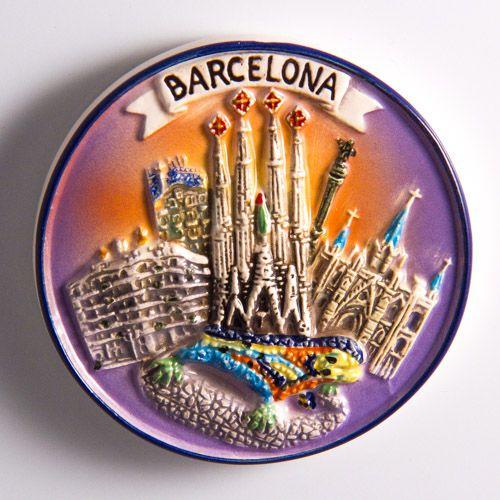 Resin Fridge Magnet: Spain. Barcelona. Main Attractions and Mosaic Salamander (El Drac - The Dragon)