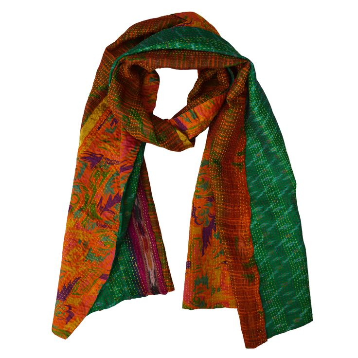 Beautiful kantha stitched upcycled silk sari scarf. Available from www.yourssustainably.com