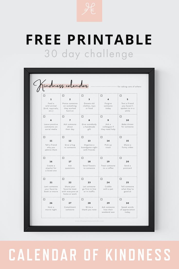 Free Printable 30 Day Challenge Calendar Of Kindness Selflove Printable Calendar Freeprin Calendar Printables Printable Calendar Template 30 Day Challenge 30 day return policy template