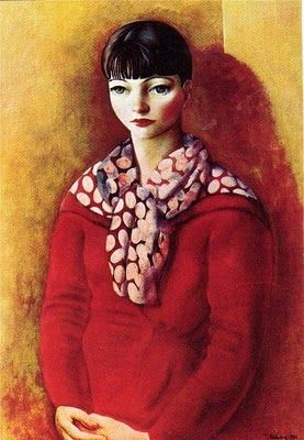 Kiki de Monparnasse in a Red Dress  by Moise Kisling   (1891 – 1953) was a Polish-born French painter