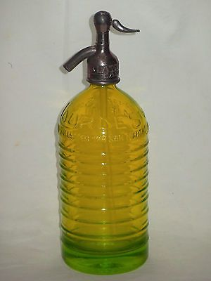 UNIQUE ! VINTAGE YELLOW SYPHON sifone siphon SODA Seltzer WATER bottle