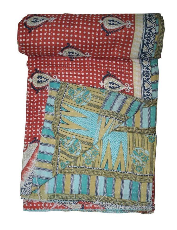 Vintage Kantha Quilt Gudri Reversible Throw Ralli Bedspread Bedding  #Unbranded #ArtDecoStyle