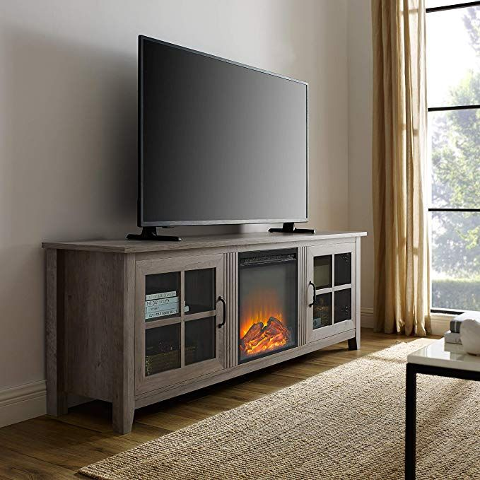 Amazonsmile We Furniture Az70fpscro Fireplace Tv Stand 70 Rustic Oak Kitchen Dining Tv Stand Wood Fireplace Tv Stand Tv Stand With Glass Doors