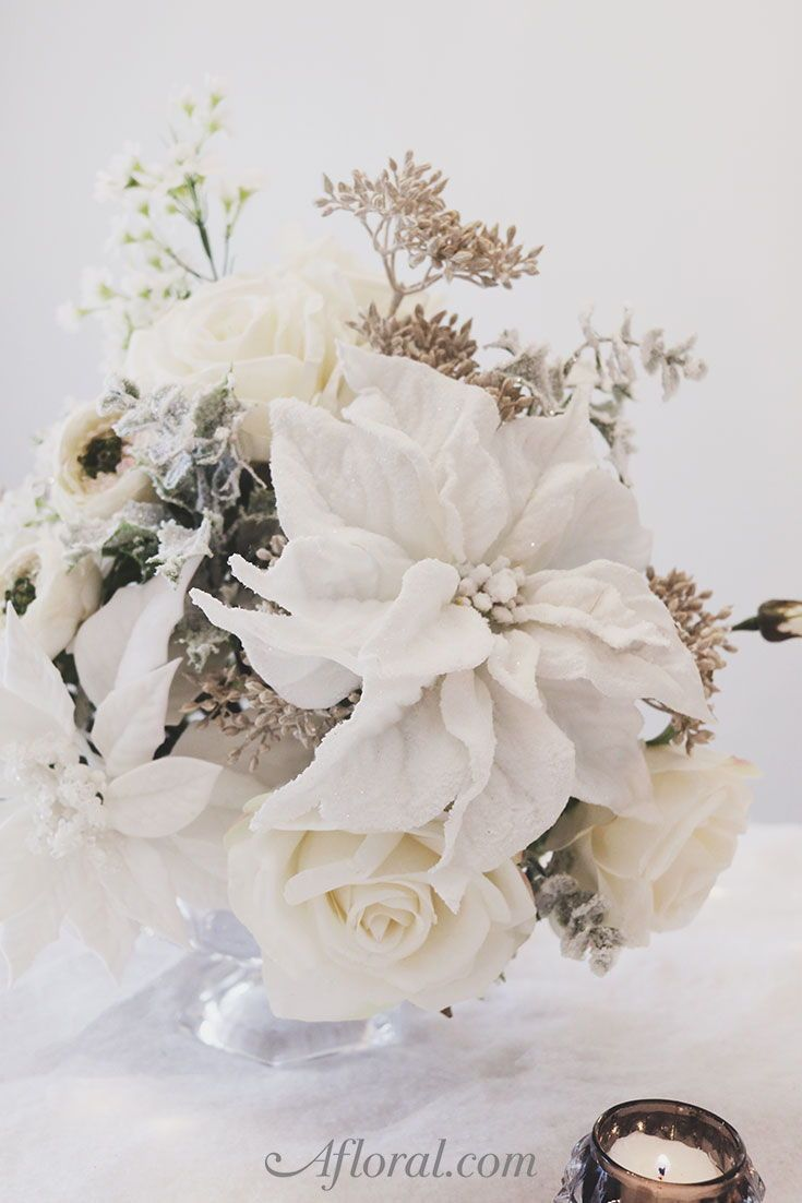 Diy Winter Wedding Centerpiece With Artificial Holiday Flowers From Afloral Com Winter Wedding Centerpieces Holiday Flower Diy Winter Wedding