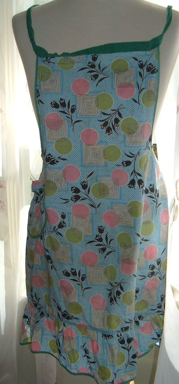Vintage bib apron  womens 60s apron  retro aprons by NewtoUVintage, $7.99