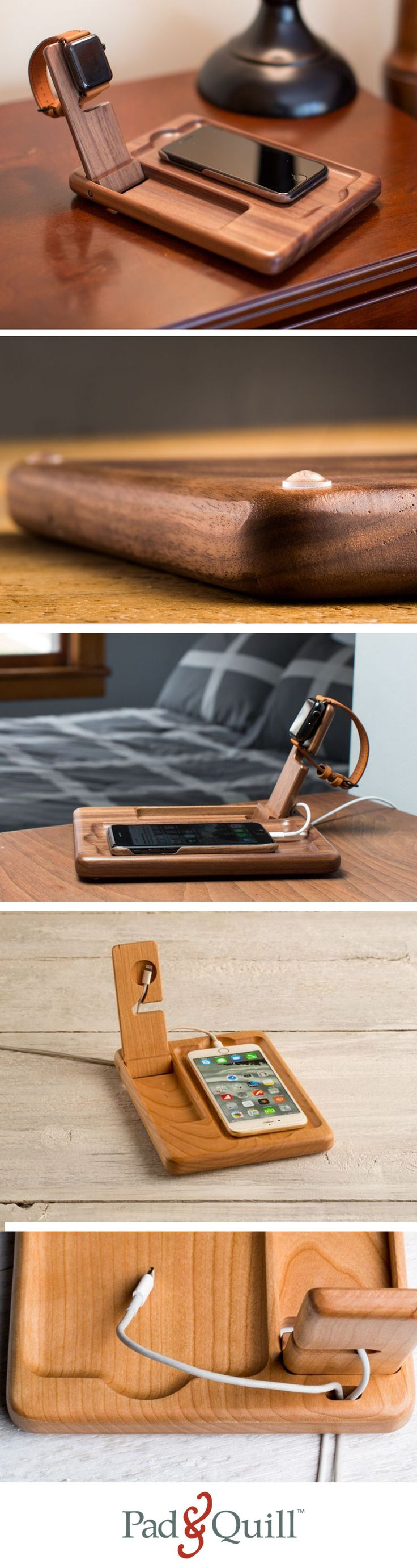 This handy stand has room for your Apple Watch and charger, your iPhone, and a special cord management system to keep everything nice and neat. It is hewn from a single piece of American Cherry, exotic Sapele or premium American Walnut, each Timber Catchall is crafted with precision and hand finished to a velveteen like appearance.