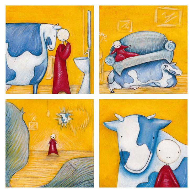Ethel Wilks #art #illustration #comics #gouache #cows #uncomfortable #strangecomic #farm #indiegraphicnovels #colourful #painting #comic  #silentcomic #yellow #comicstrip #indiecomics #funnycomics #funny #meme #graphicnovel