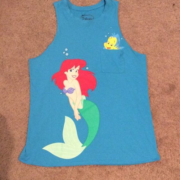 Little mermaid Ariel muscle shirt Only worn once, little mermaid shirt. *offers welcome Tops Muscle Tees