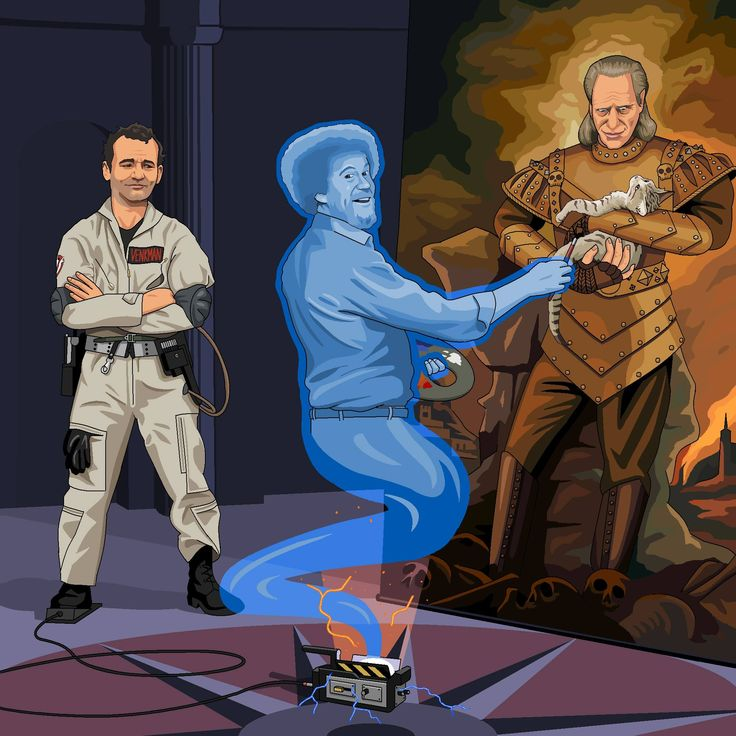 Superb! Peter Venkman releasing the ghost of Bob Ross to paint Vigo! #Ghostbusters (via Jim'll Paint It