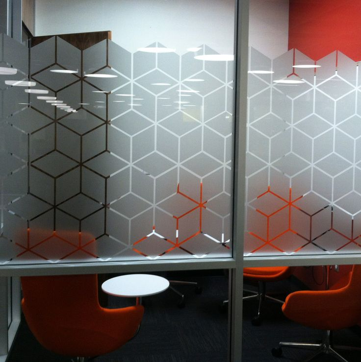 Hexagonal pattern - glass conference room etch