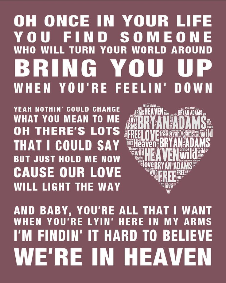 Bryan Adams music song lyrics Heaven Word Art Print Poster Wedding Engaged Gift