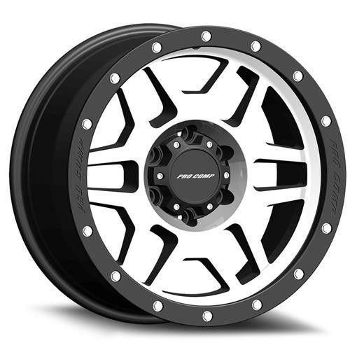 Series 41 Phaser 20x9 with 8 on 6.5 Bolt Pattern 5.25 Backspace Machined Black with Stainless Steel Bolts Finish Pro Comp Alloy Wheels