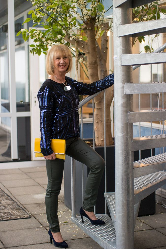Blue sequined top, green coated skinnies, blue suede pumps, yellow clutch